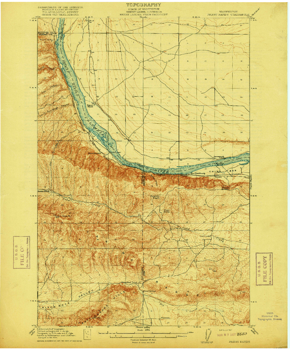 USGS 1:62500-SCALE QUADRANGLE FOR PRIEST RAPIDS, WA 1917
