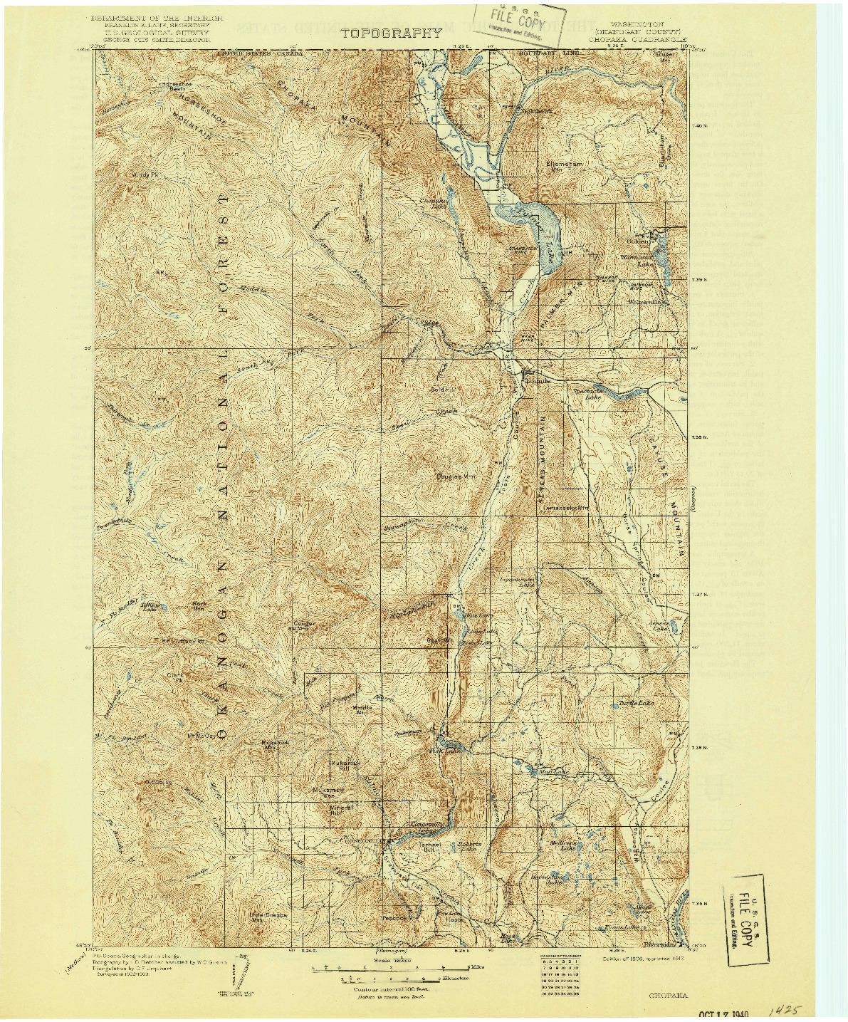 USGS 1:125000-SCALE QUADRANGLE FOR CHOPAKA, WA 1906