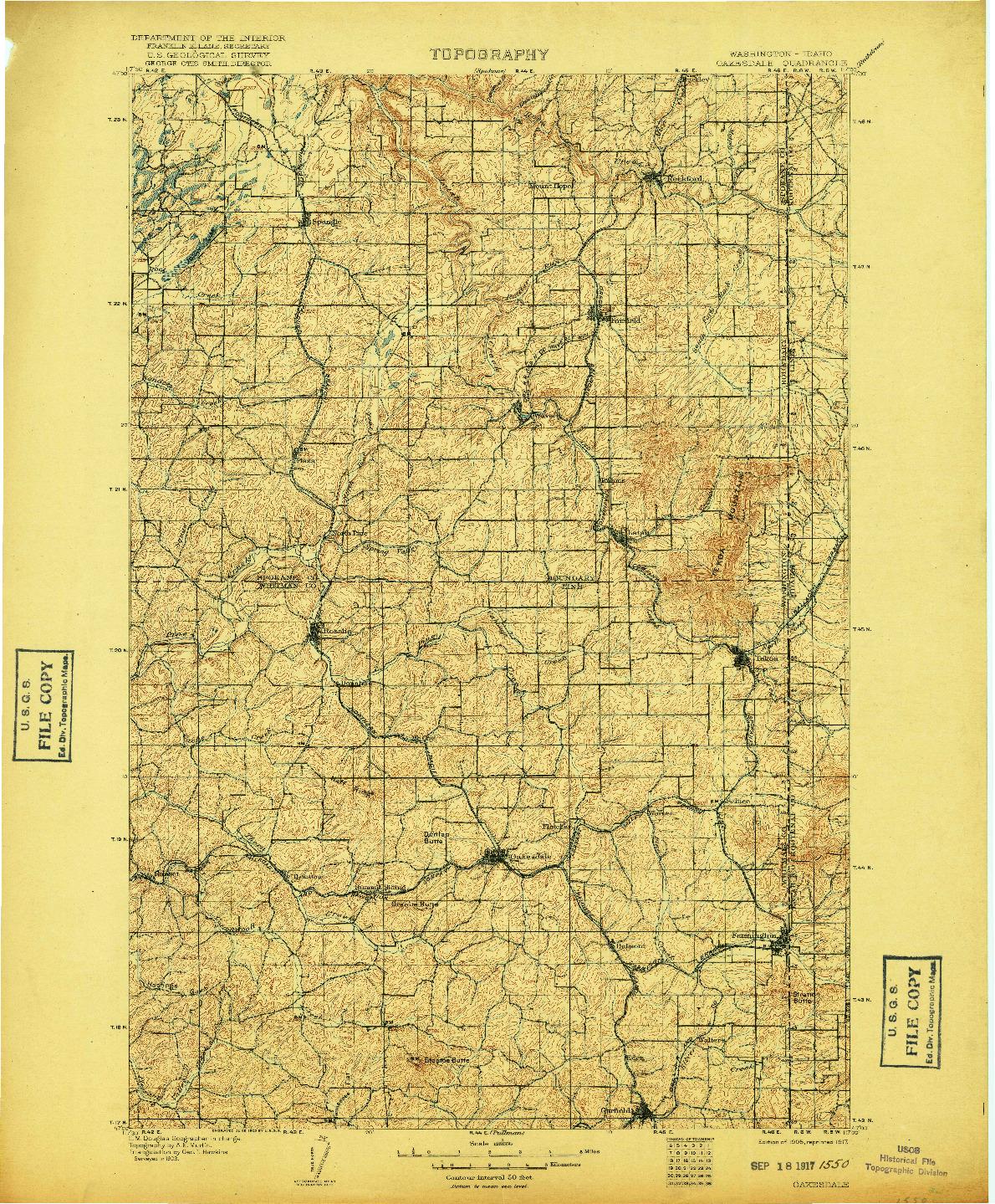USGS 1:125000-SCALE QUADRANGLE FOR OAKESDALE, WA 1905