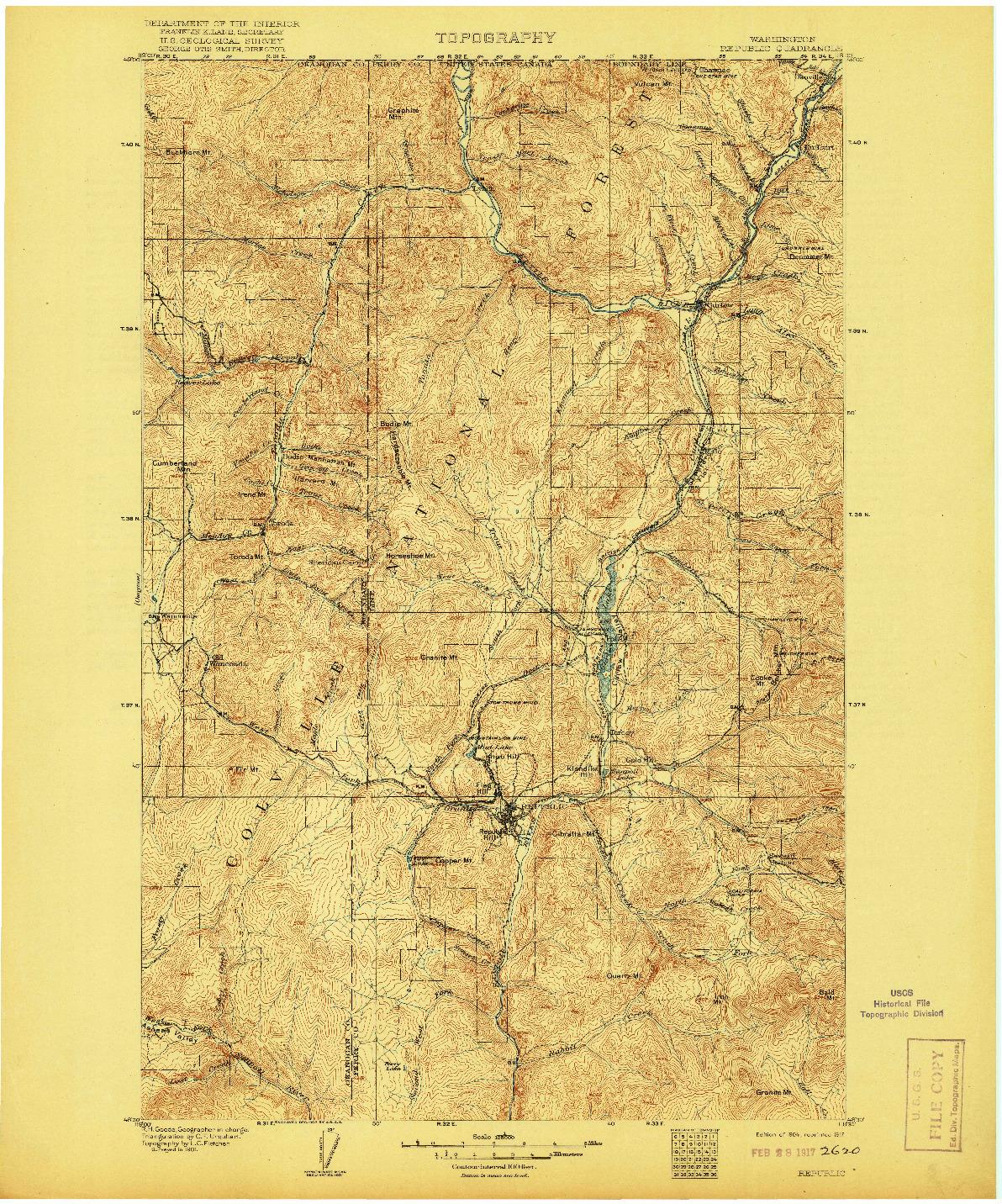 USGS 1:125000-SCALE QUADRANGLE FOR REPUBLIC, WA 1904