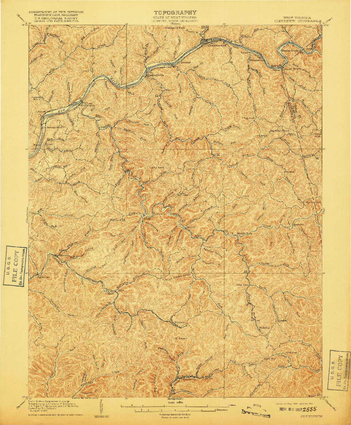 USGS 1:62500-SCALE QUADRANGLE FOR CLENDENIN, WV 1909