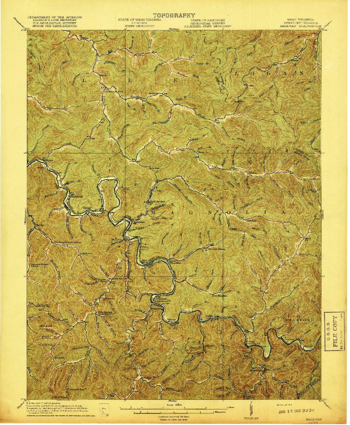 USGS 1:62500-SCALE QUADRANGLE FOR MATEWAN, WV 1917