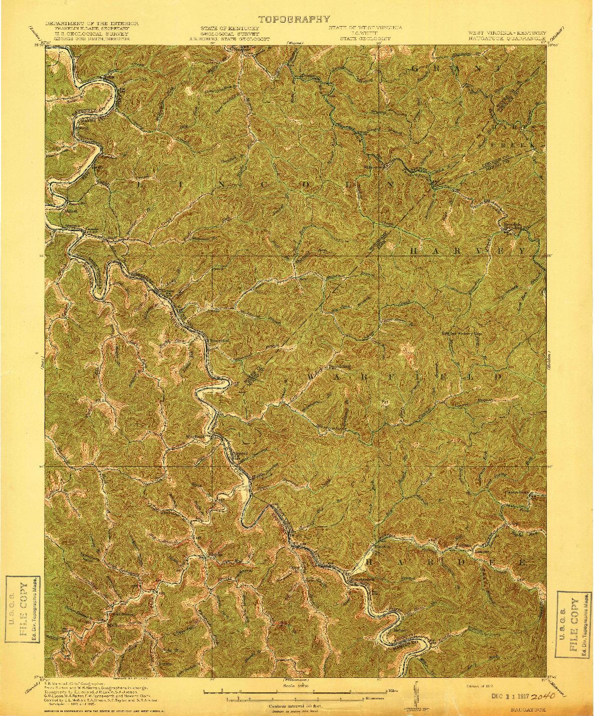 USGS 1:62500-SCALE QUADRANGLE FOR NAUGATUCK, WV 1917
