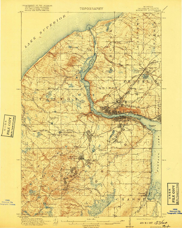USGS 1:62500-SCALE QUADRANGLE FOR HOUGHTON, MI 1915