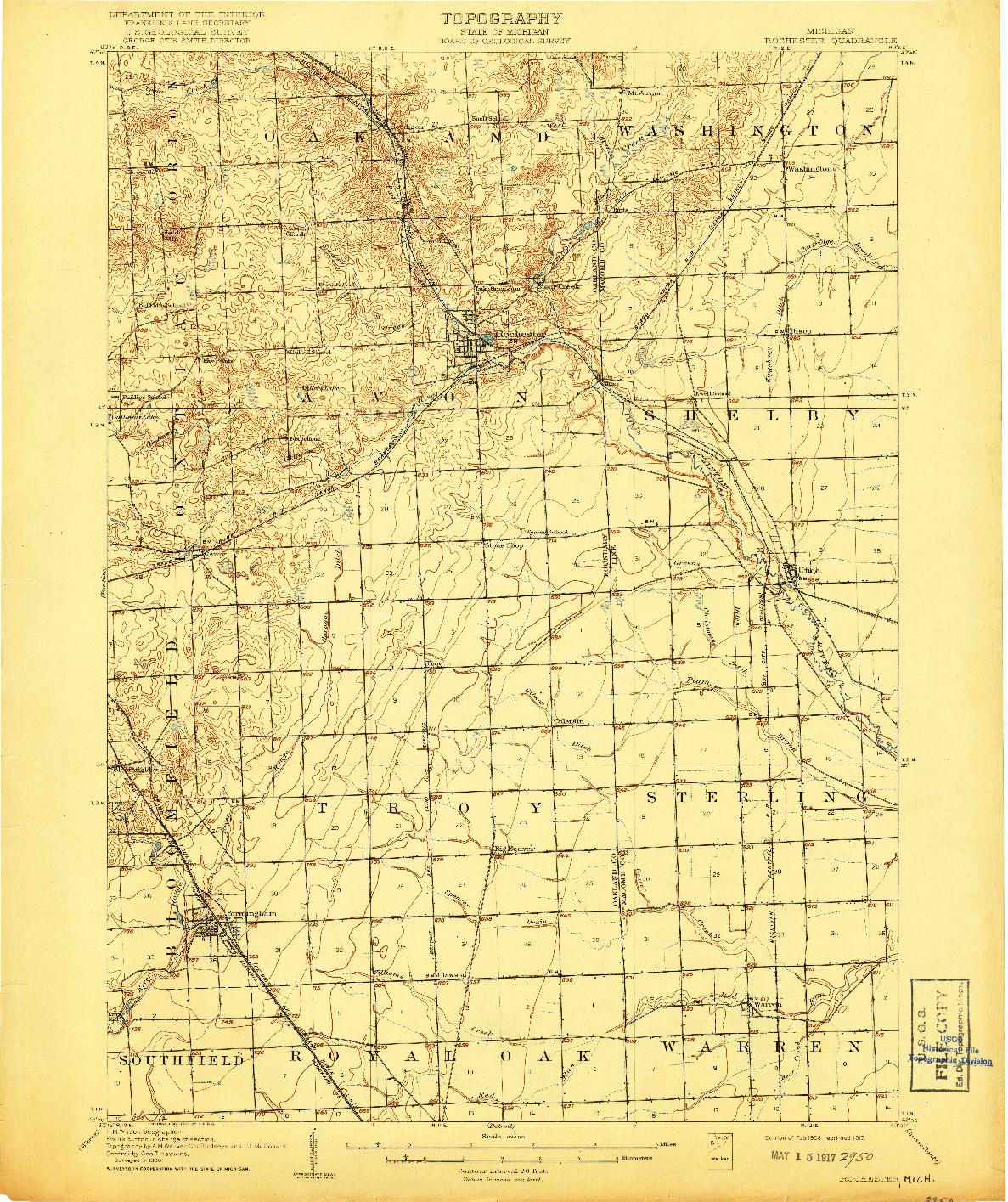 USGS 1:62500-SCALE QUADRANGLE FOR ROCHESTER, MI 1908