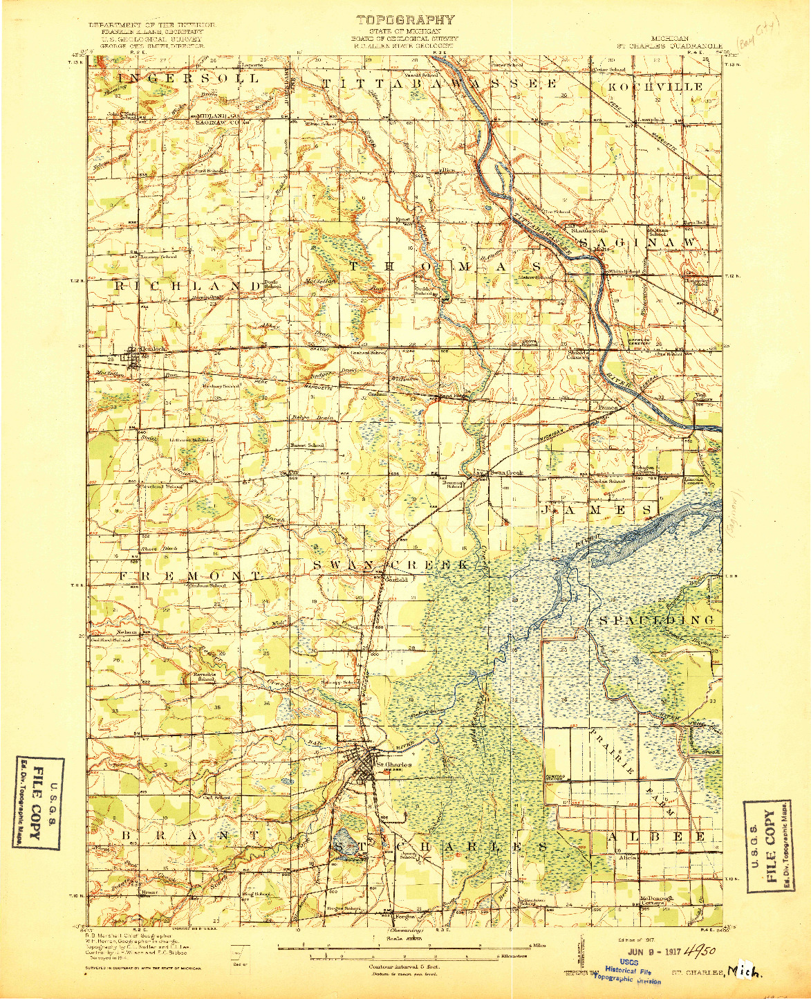 USGS 1:62500-SCALE QUADRANGLE FOR ST. CHARLES, MI 1917