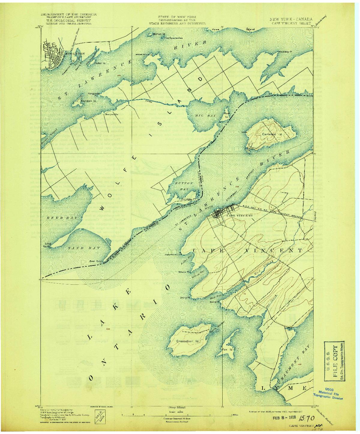USGS 1:62500-SCALE QUADRANGLE FOR CAPE VINCENT, NY 1895