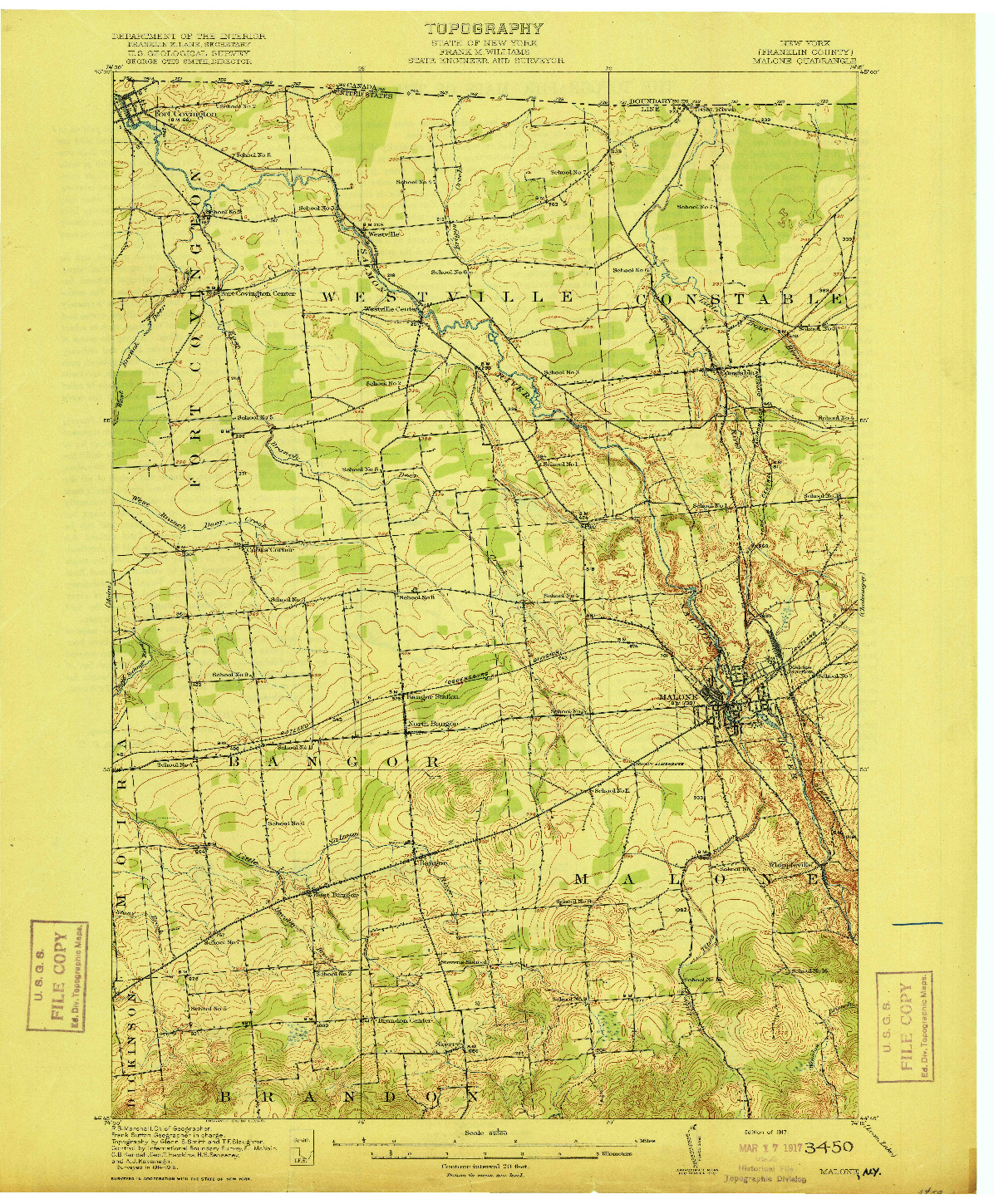 USGS 1:62500-SCALE QUADRANGLE FOR MALONE, NY 1917