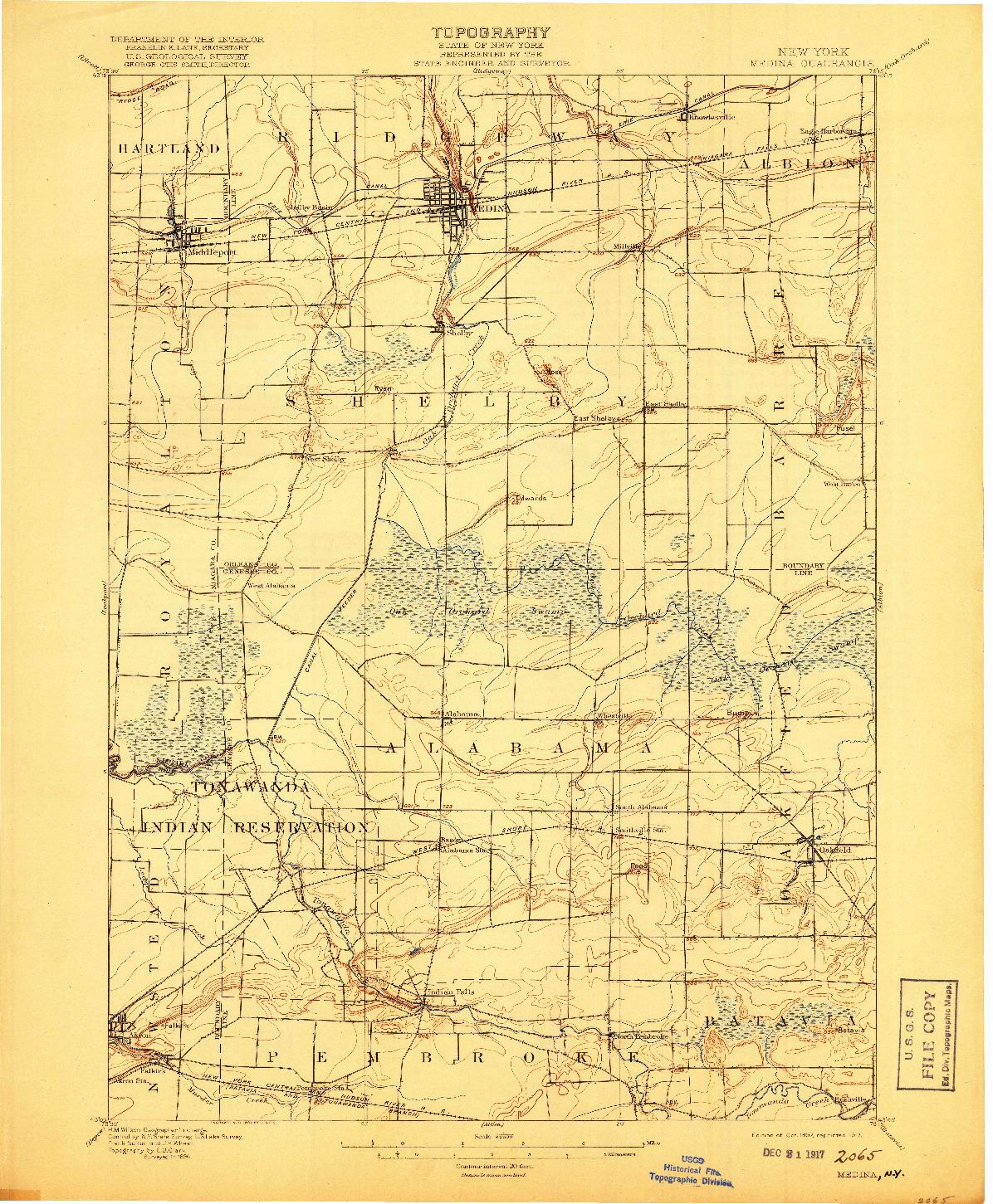 USGS 1:62500-SCALE QUADRANGLE FOR MEDINA, NY 1897