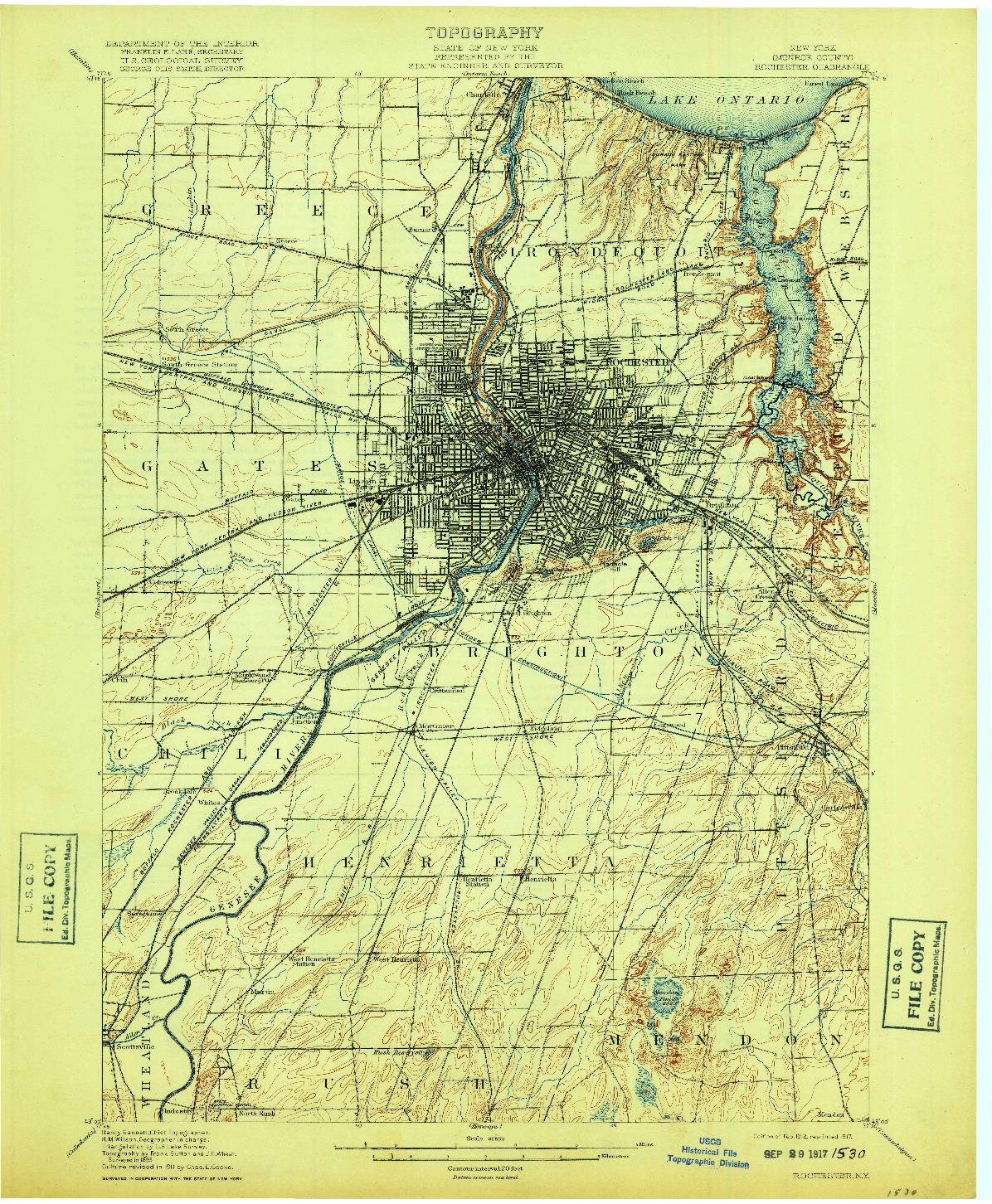 USGS 1:62500-SCALE QUADRANGLE FOR ROCHESTER, NY 1912