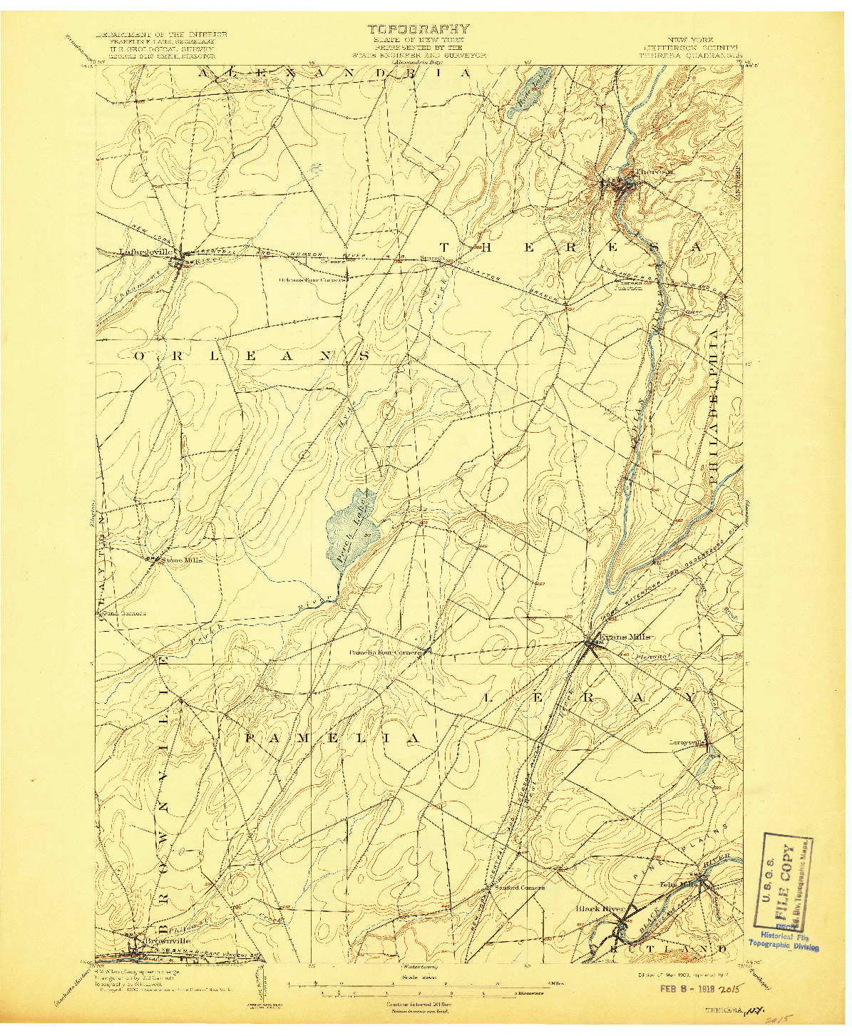 USGS 1:62500-SCALE QUADRANGLE FOR THERESA, NY 1903