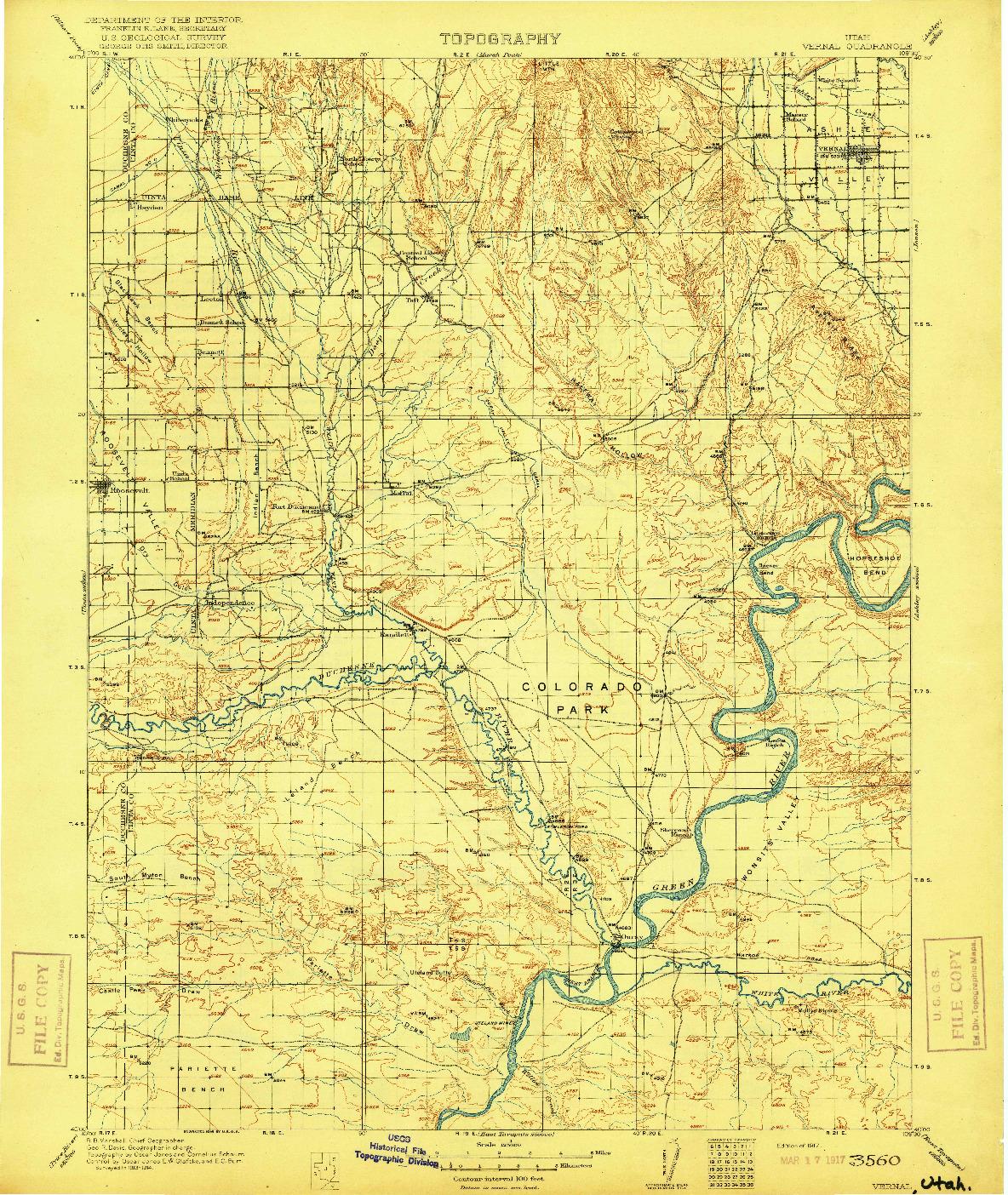 USGS 1:125000-SCALE QUADRANGLE FOR VERNAL, UT 1917