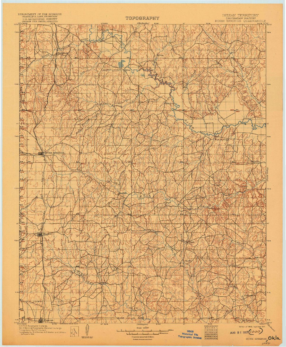 USGS 1:125000-SCALE QUADRANGLE FOR RUSH SPRINGS, OK 1902