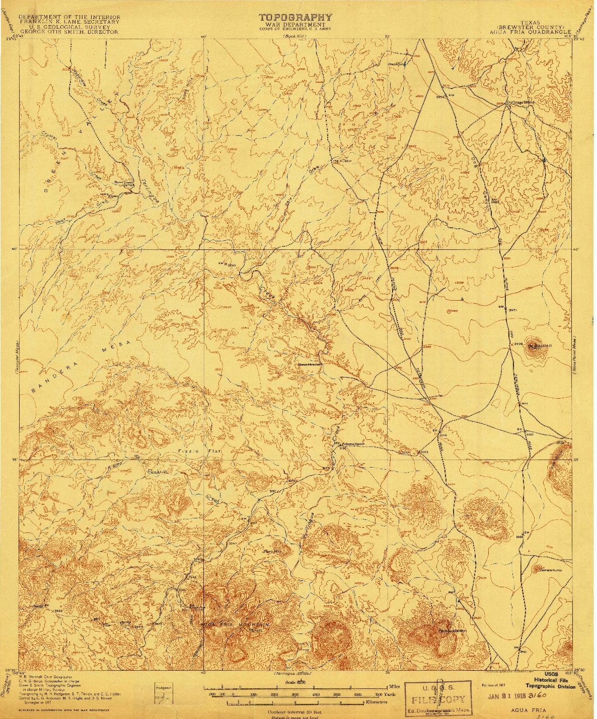 USGS 1:62500-SCALE QUADRANGLE FOR AGUA FRIA, TX 1917