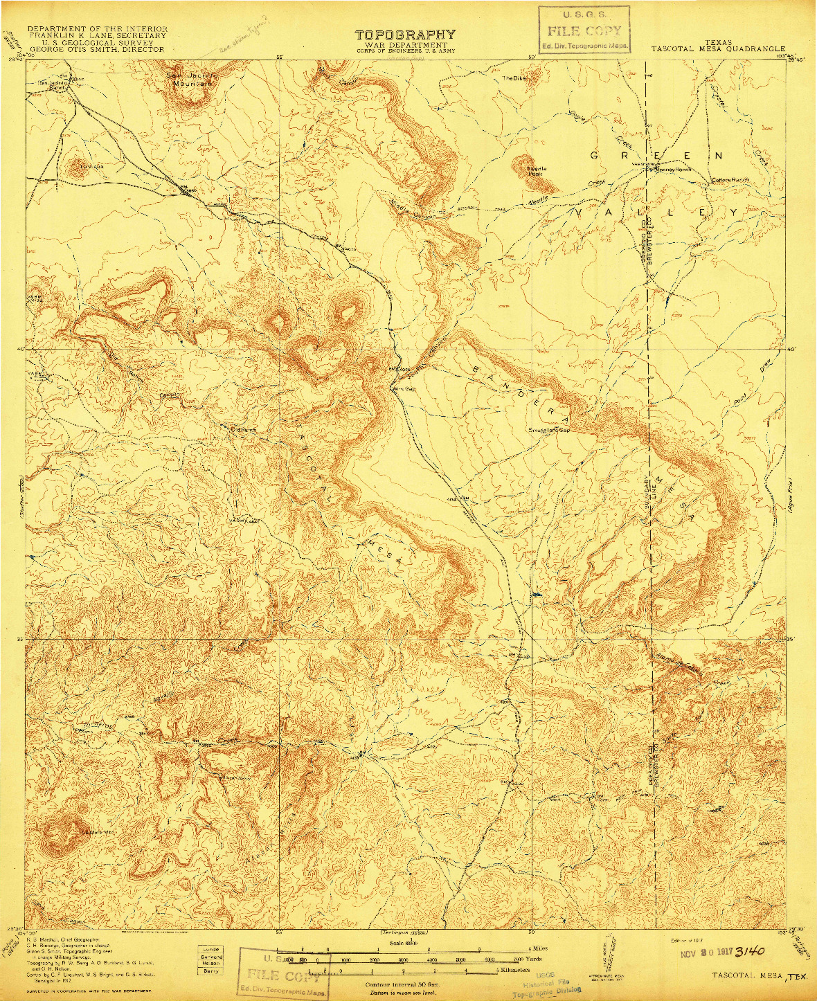 USGS 1:62500-SCALE QUADRANGLE FOR TASCOTAL MESA, TX 1917