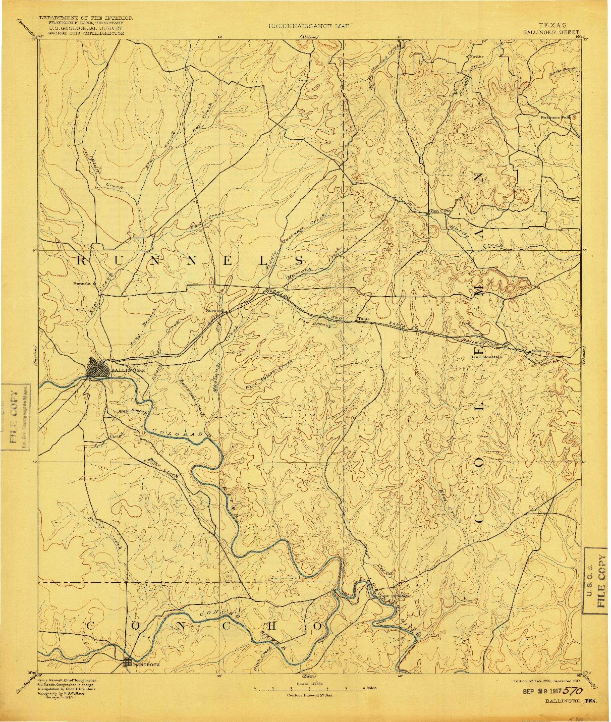 USGS 1:125000-SCALE QUADRANGLE FOR BALLINGER, TX 1892