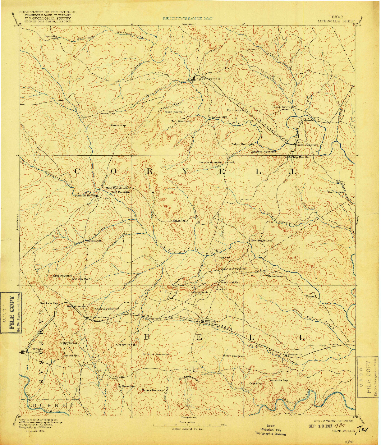 USGS 1:125000-SCALE QUADRANGLE FOR GATESVILLE, TX 1894