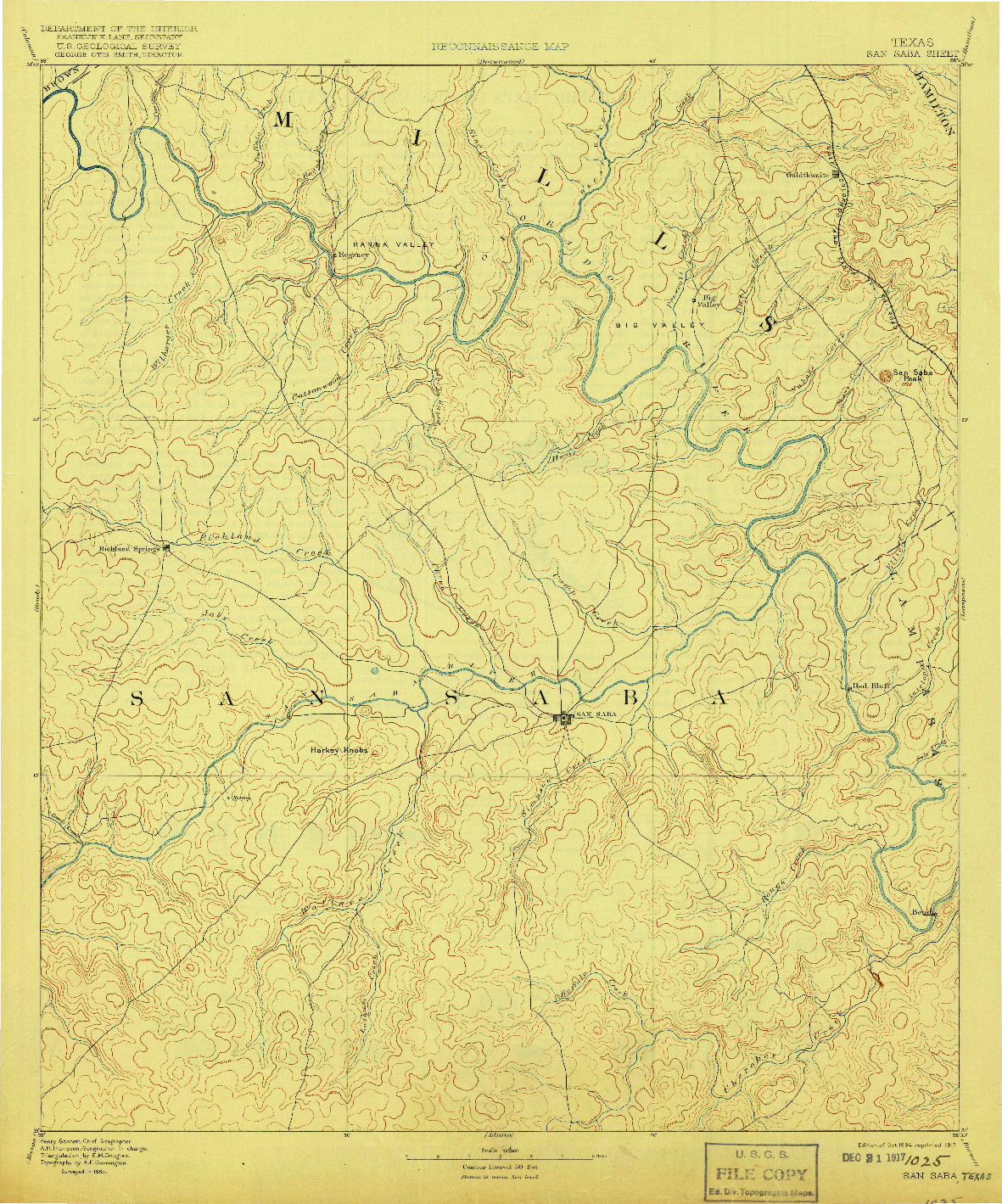 USGS 1:125000-SCALE QUADRANGLE FOR SAN SABA, TX 1894