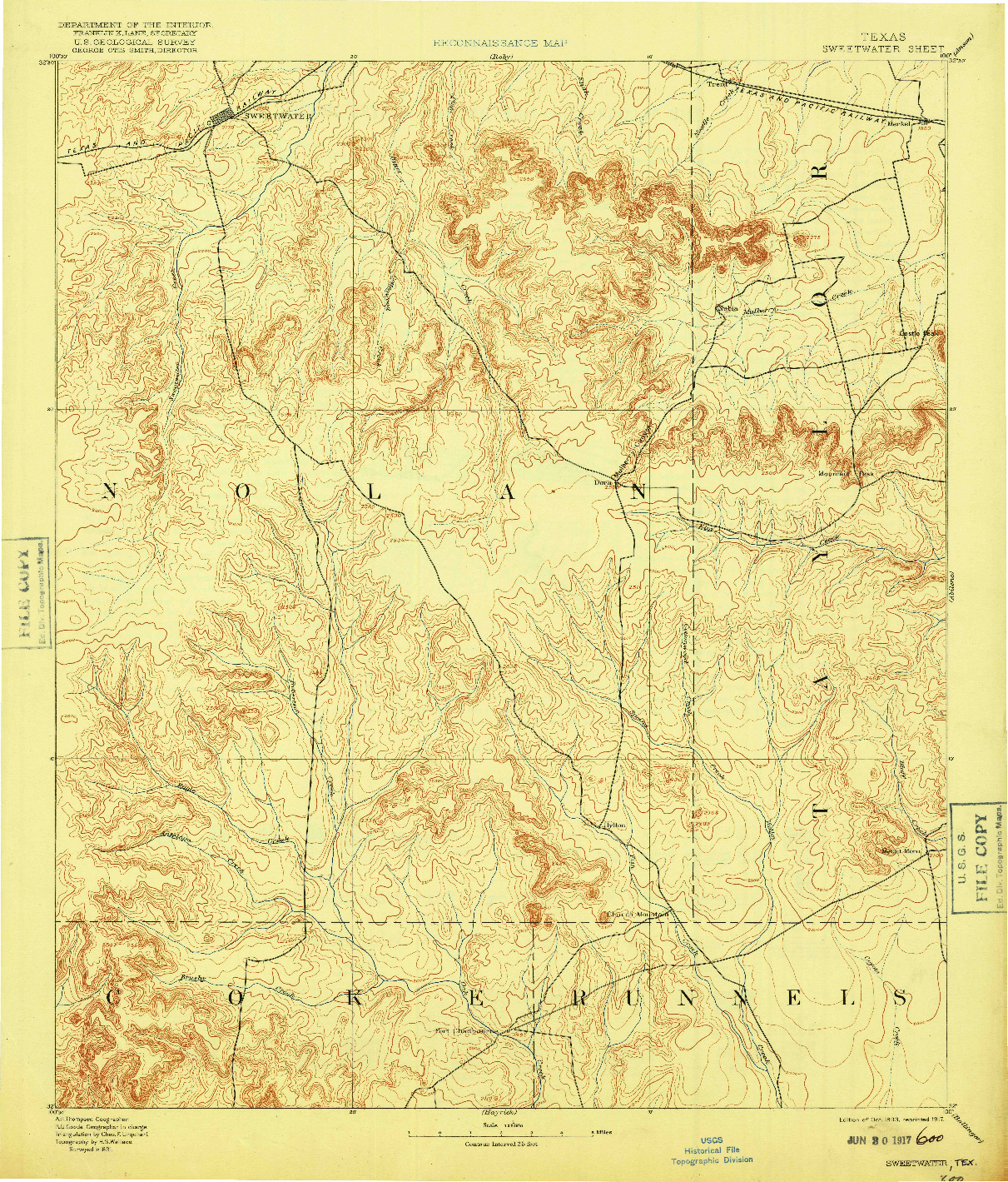 USGS 1:125000-SCALE QUADRANGLE FOR SWEETWATER, TX 1893