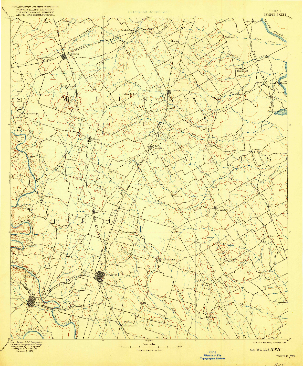 USGS 1:125000-SCALE QUADRANGLE FOR TEMPLE, TX 1892