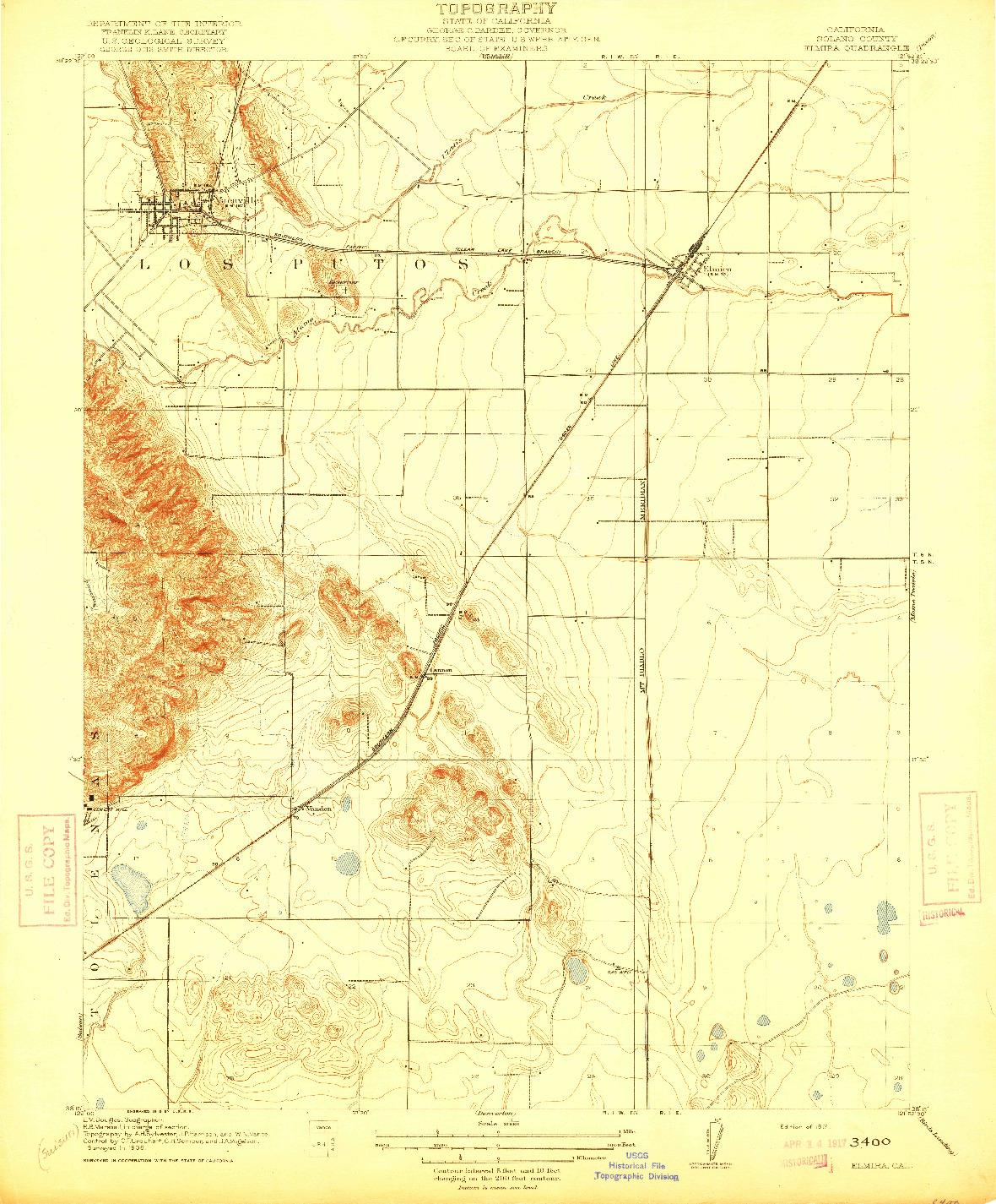 USGS 1:31680-SCALE QUADRANGLE FOR ELMIRA, CA 1917