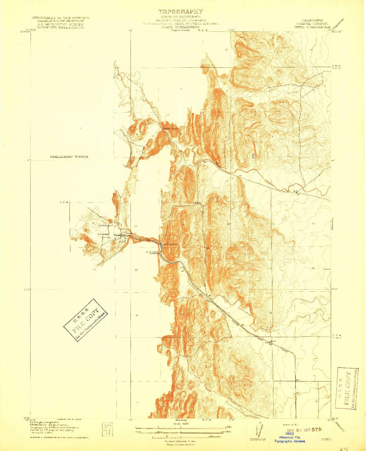 USGS 1:31680-SCALE QUADRANGLE FOR SITES, CA 1917