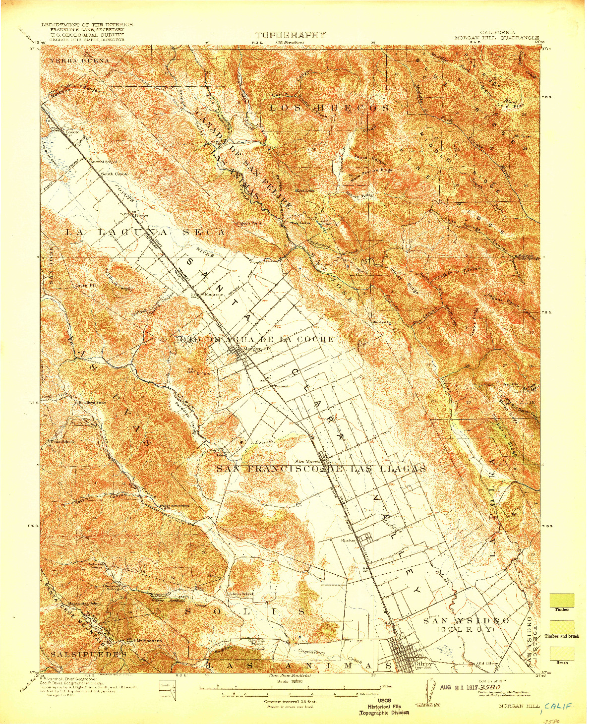 USGS 1:62500-SCALE QUADRANGLE FOR MORGAN HILL, CA 1917