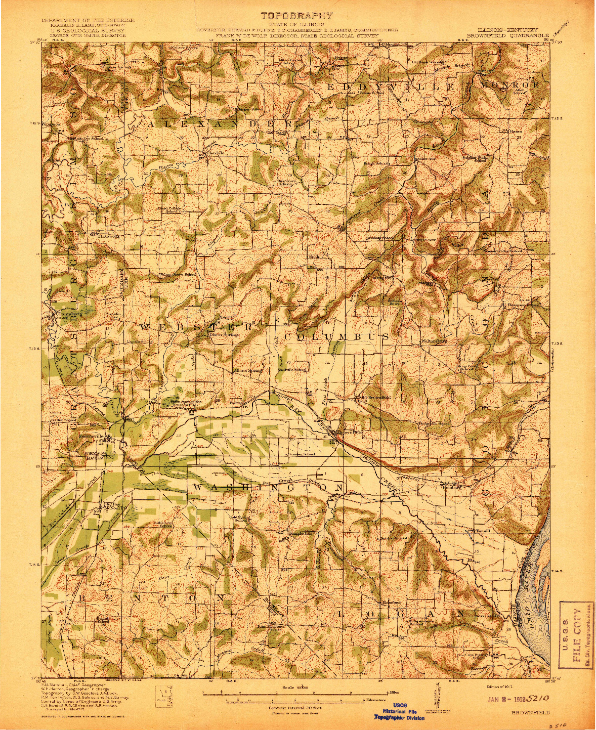 USGS 1:62500-SCALE QUADRANGLE FOR BROWNFIELD, IL 1917