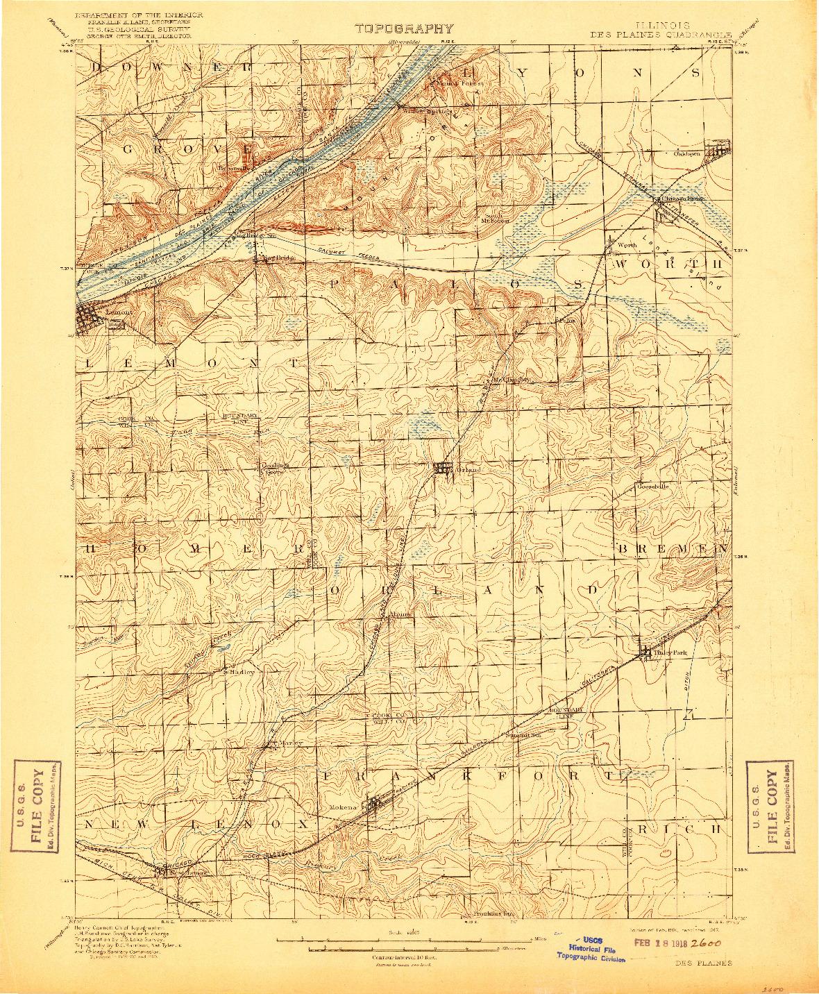 USGS 1:62500-SCALE QUADRANGLE FOR DES PLAINES, IL 1901