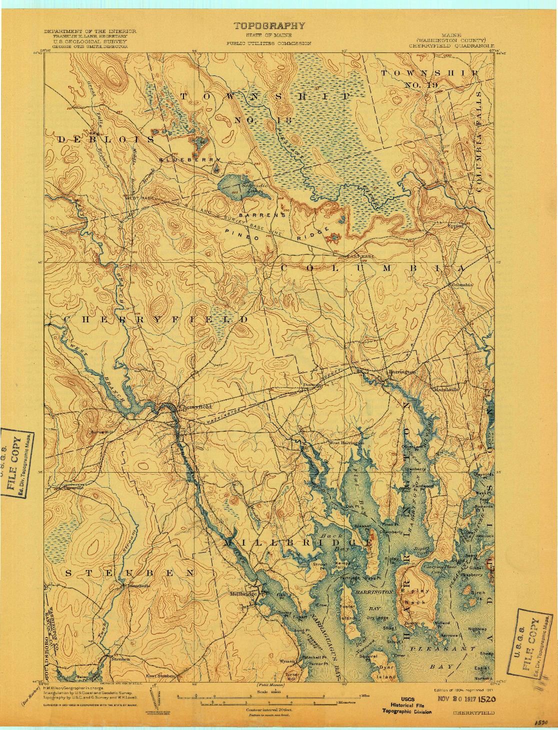 USGS 1:62500-SCALE QUADRANGLE FOR CHERRYFIELD, ME 1904