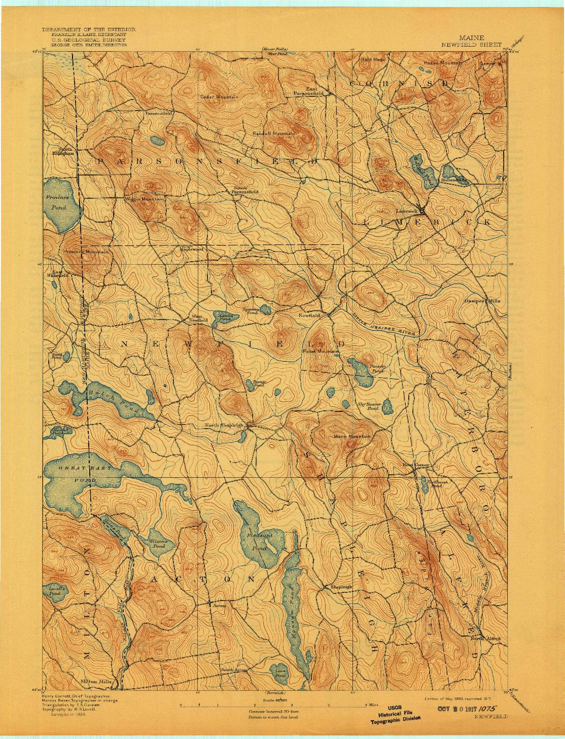 USGS 1:62500-SCALE QUADRANGLE FOR NEWFIELD, ME 1893