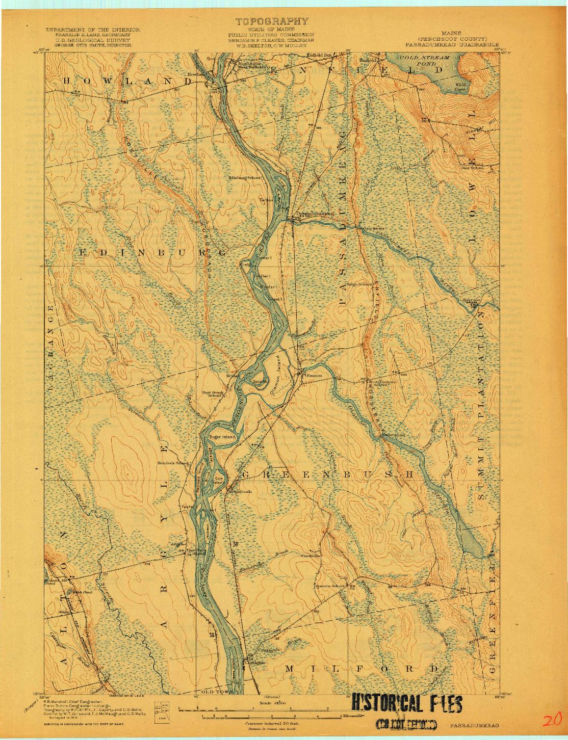 USGS 1:62500-SCALE QUADRANGLE FOR PASSADUMKEAG, ME 1917