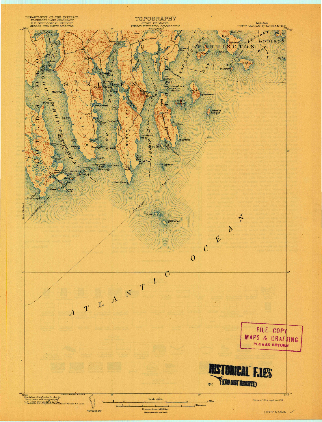 USGS 1:62500-SCALE QUADRANGLE FOR PETIT MANAN, ME 1904