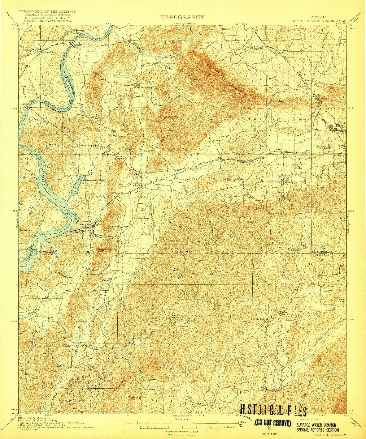 USGS 1:62500-SCALE QUADRANGLE FOR GANTTS QUARRY, AL 1917