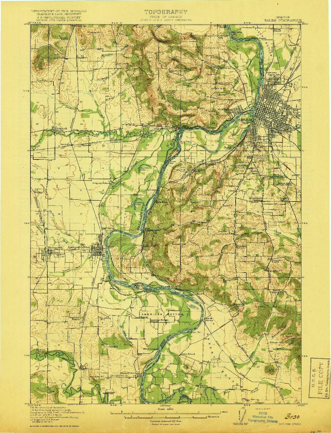 USGS 1:62500-SCALE QUADRANGLE FOR SALEM, OR 1917