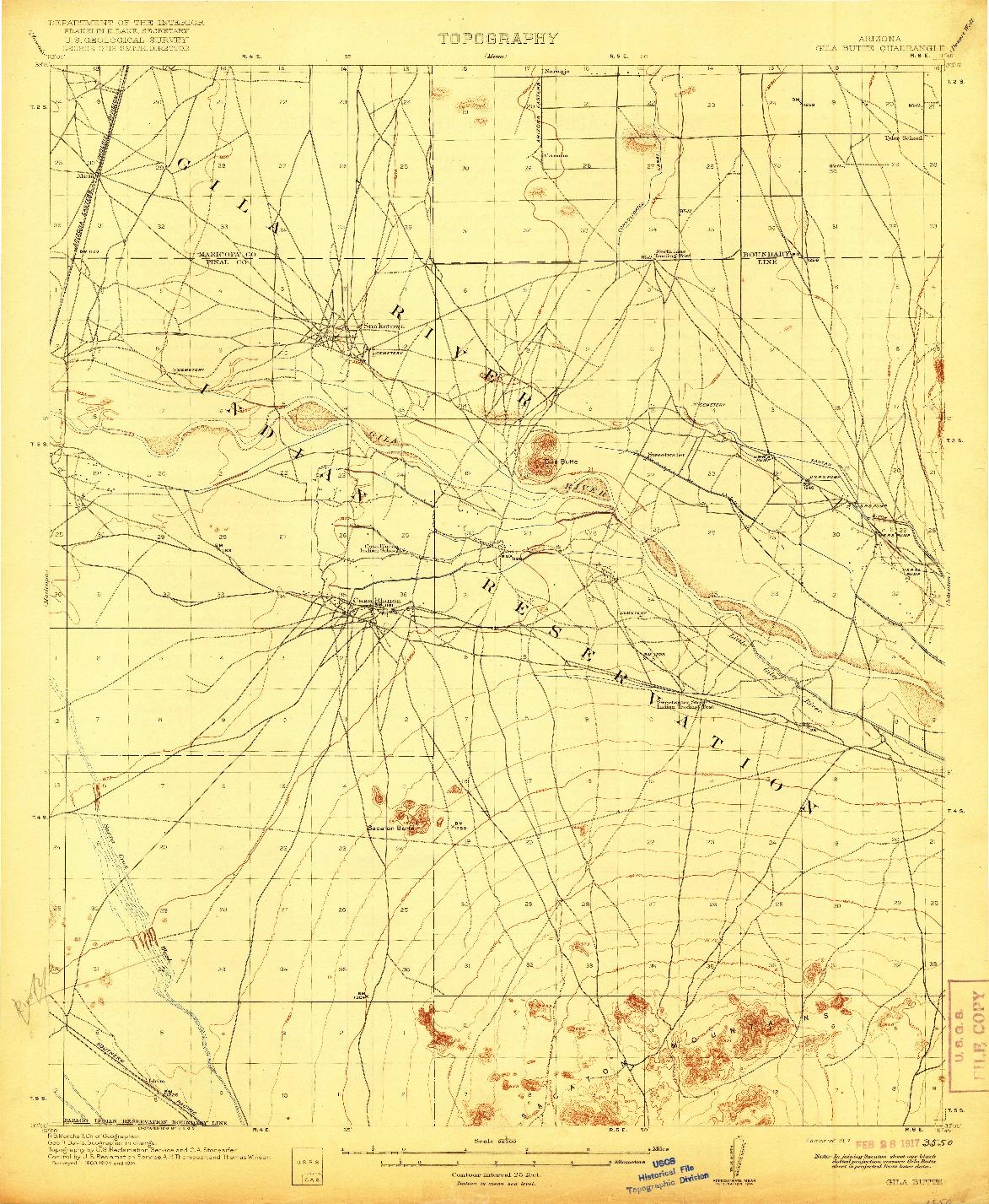 USGS 1:62500-SCALE QUADRANGLE FOR GILA BUTTE, AZ 1917