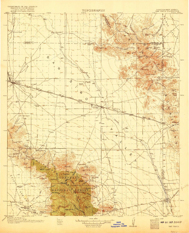 USGS 1:125000-SCALE QUADRANGLE FOR SAN SIMON, AZ 1917