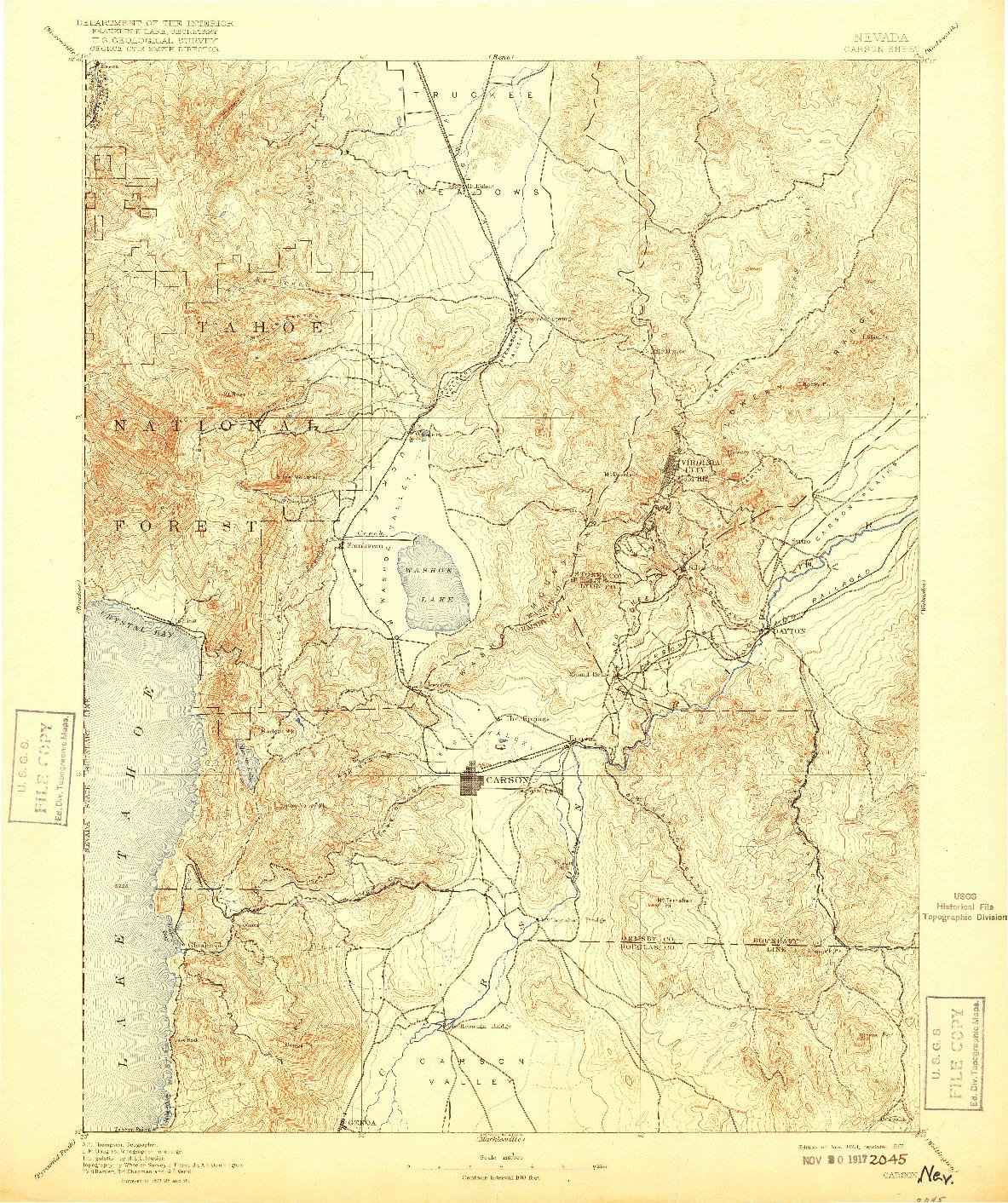 USGS 1:125000-SCALE QUADRANGLE FOR CARSON, NV 1893