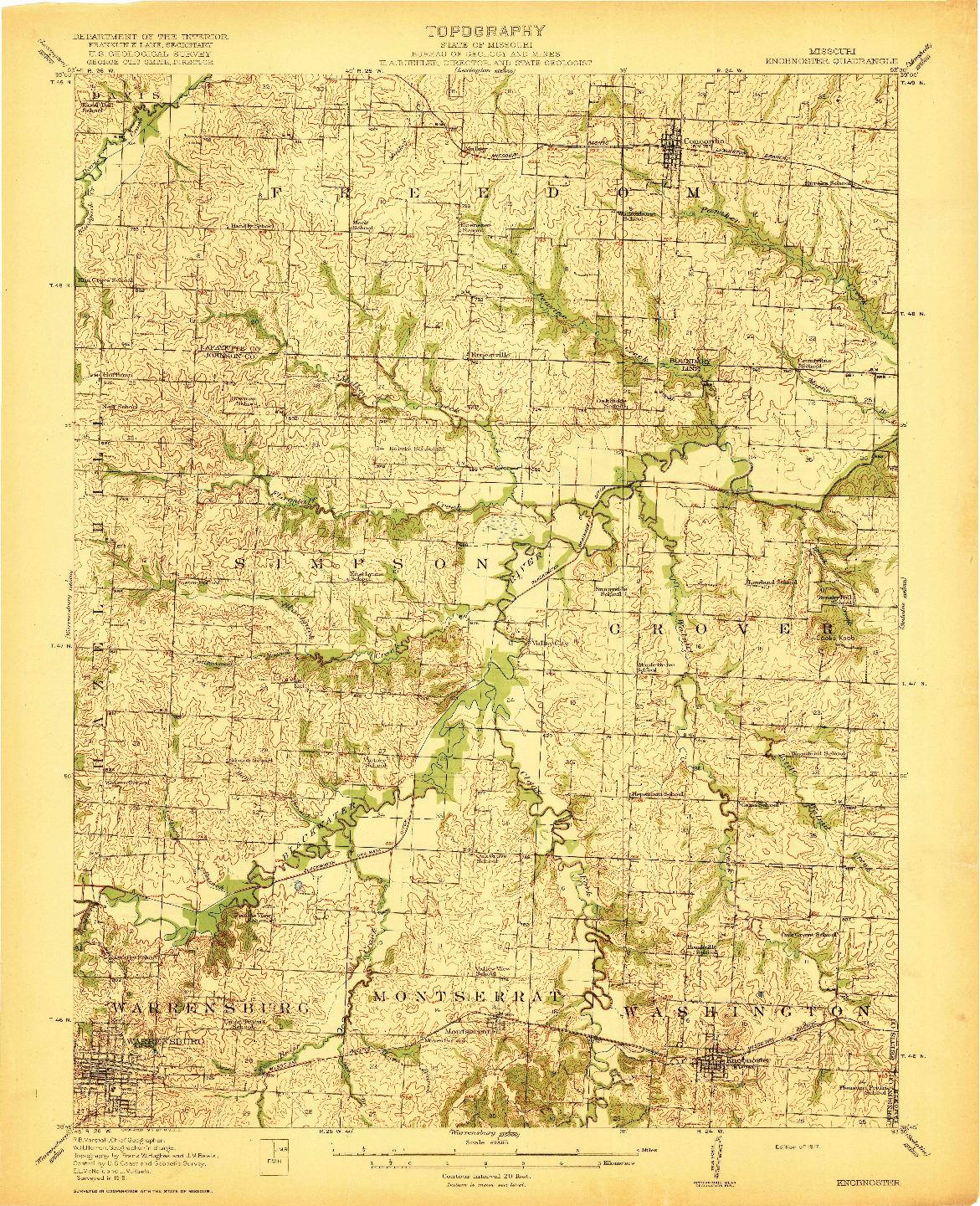 USGS 1:62500-SCALE QUADRANGLE FOR KNOBNOSTER, MO 1917