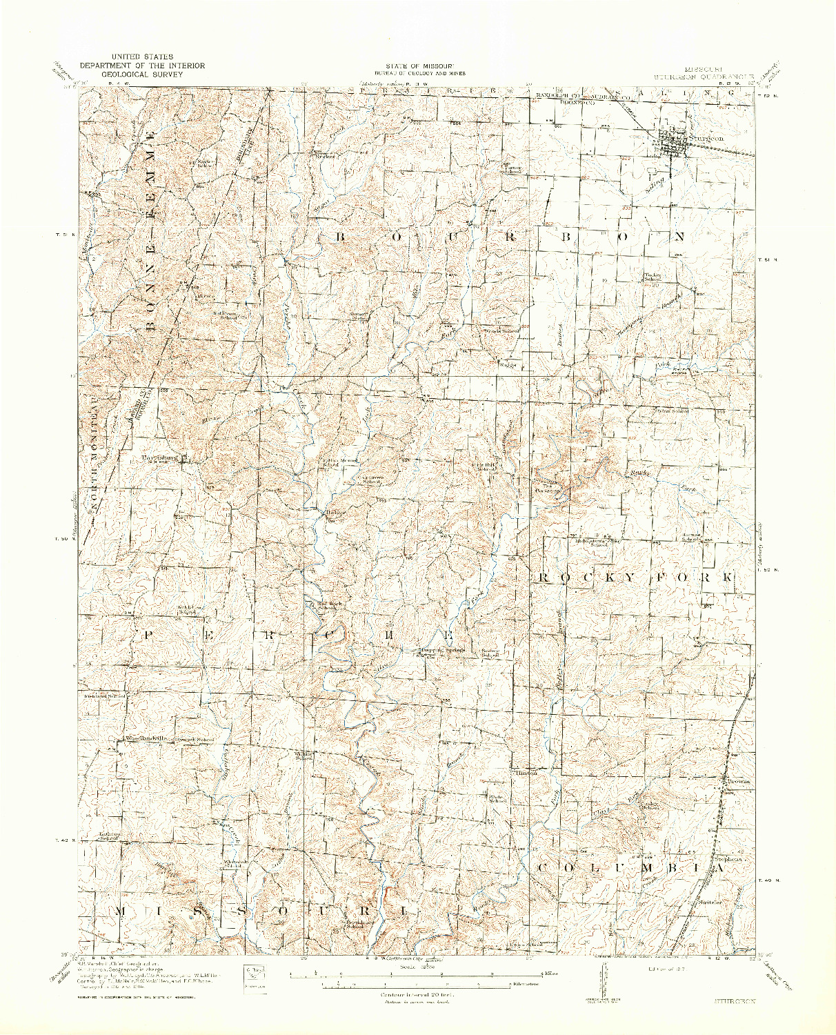 USGS 1:62500-SCALE QUADRANGLE FOR STURGEON, MO 1917