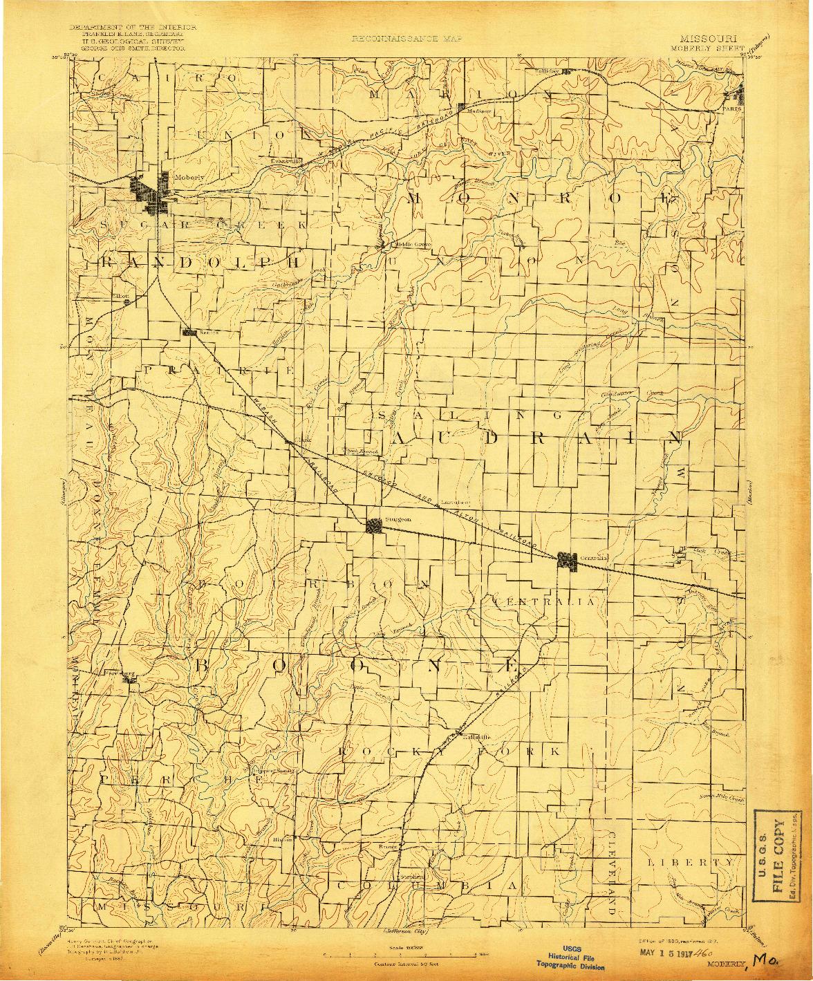 USGS 1:125000-SCALE QUADRANGLE FOR MOBERLY, MO 1890