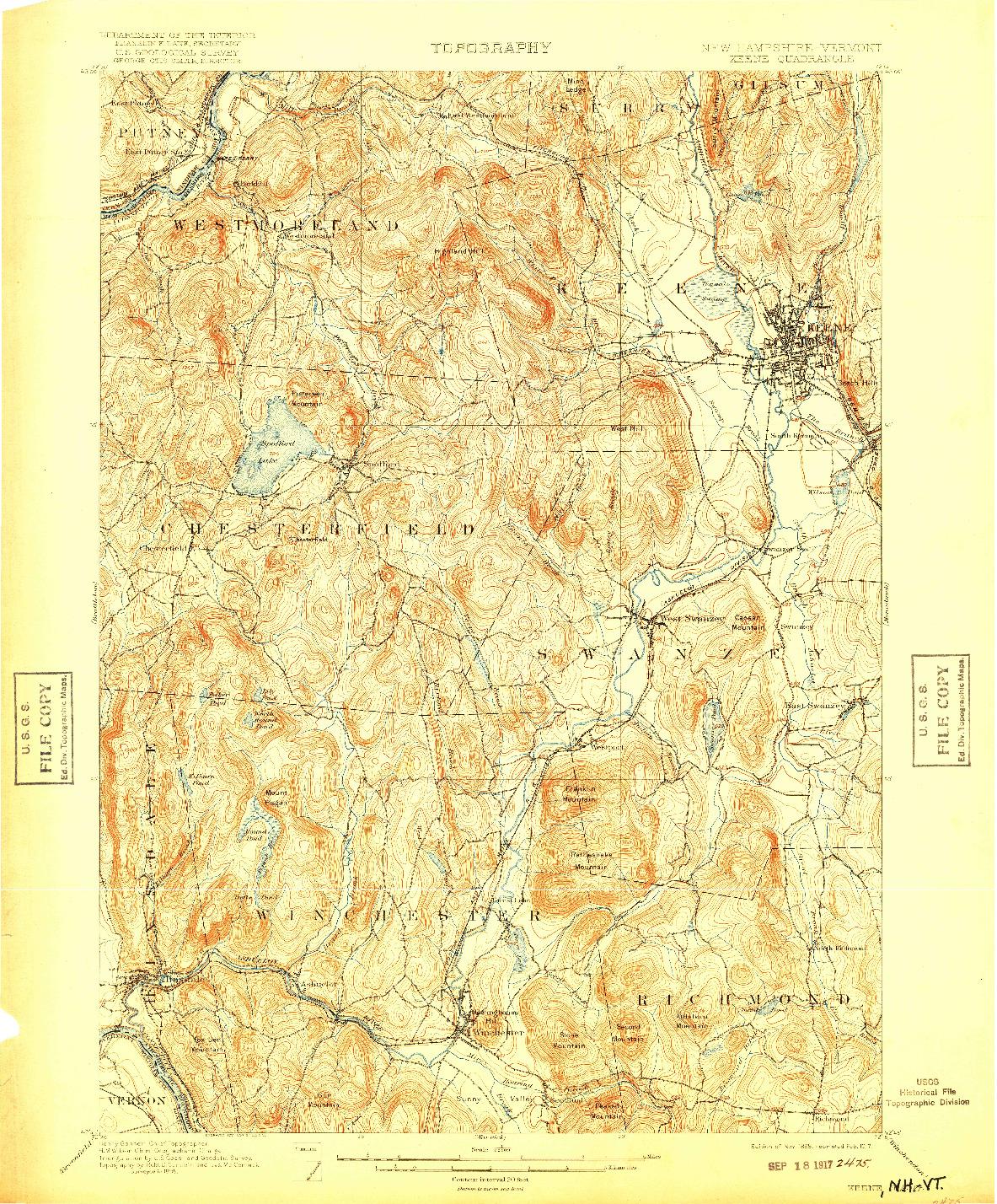 USGS 1:62500-SCALE QUADRANGLE FOR KEENE, NH 1898