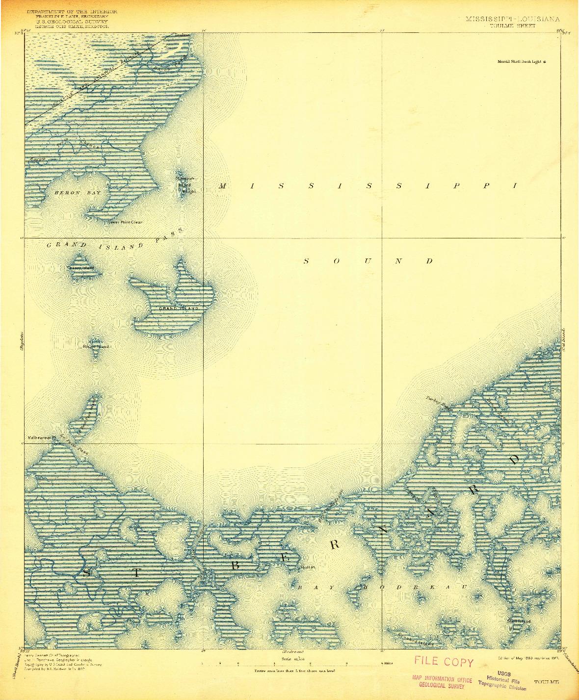 USGS 1:62500-SCALE QUADRANGLE FOR TOULME, MS 1893