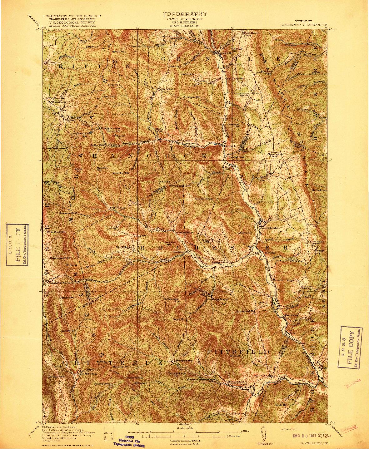 USGS 1:62500-SCALE QUADRANGLE FOR ROCHESTER, VT 1917