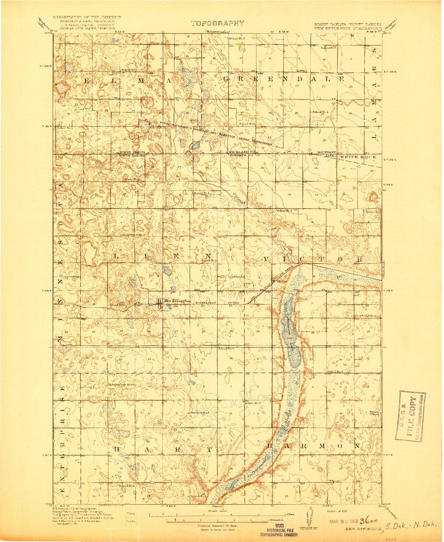 USGS 1:62500-SCALE QUADRANGLE FOR NEW EFFINGTON, SD 1917