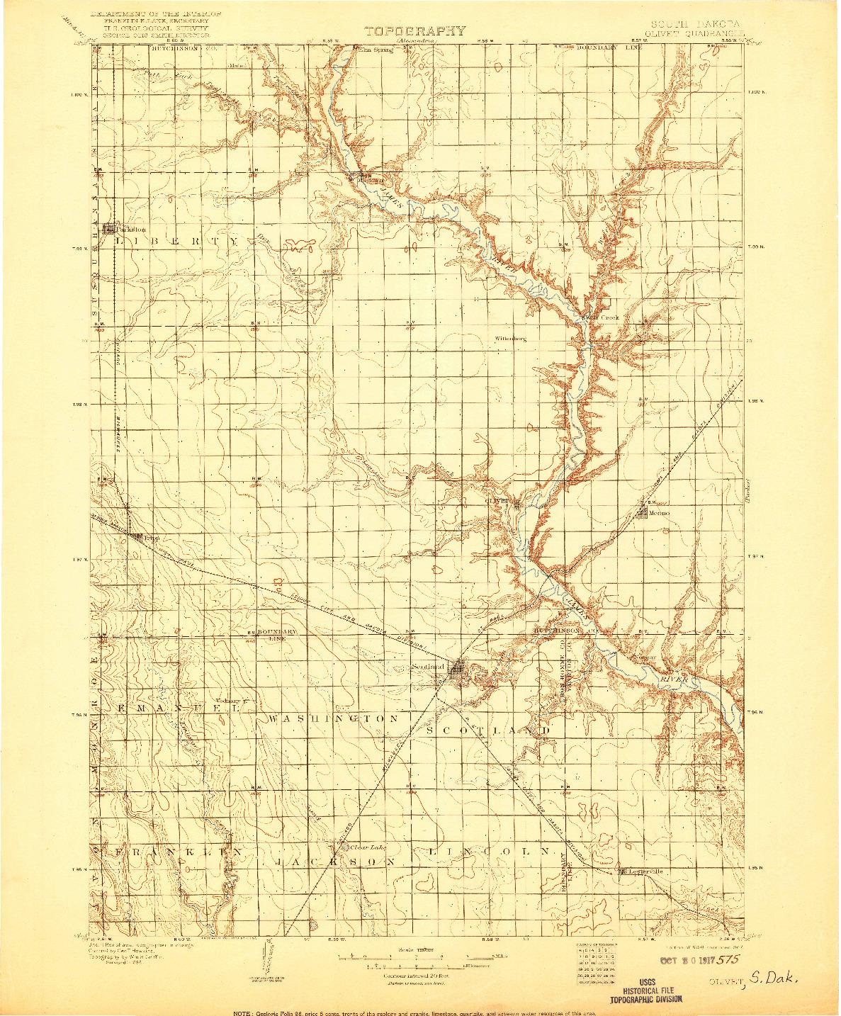 USGS 1:125000-SCALE QUADRANGLE FOR OLIVET, SD 1898