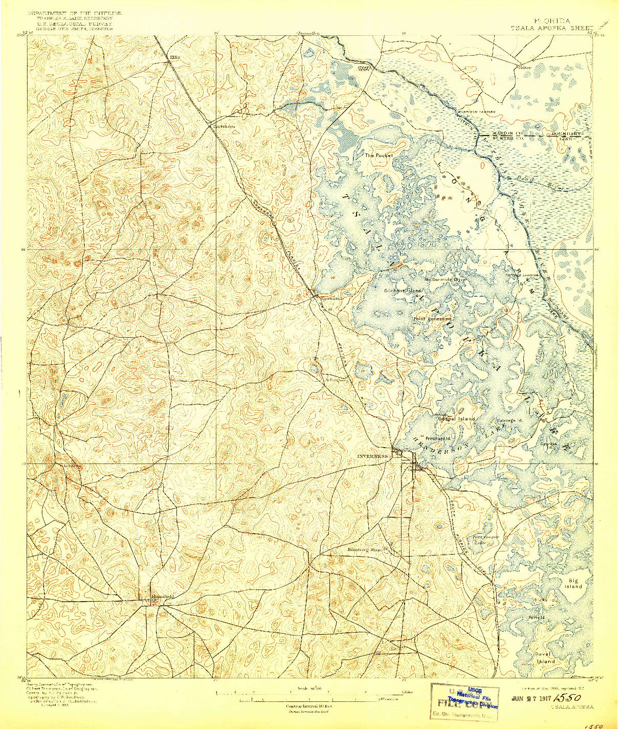USGS 1:62500-SCALE QUADRANGLE FOR TSALA APOPKA, FL 1895