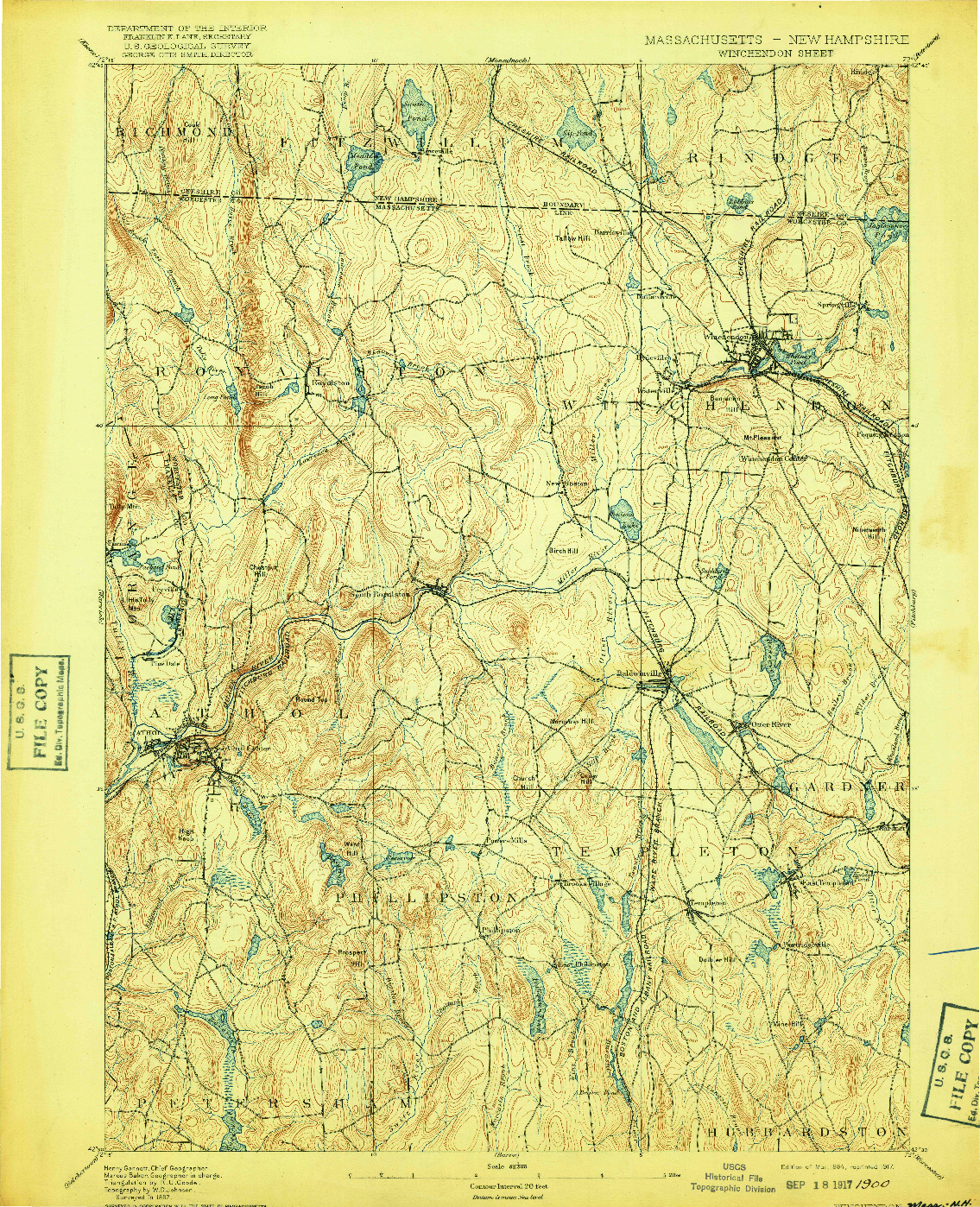 USGS 1:62500-SCALE QUADRANGLE FOR WINCHENDON, MA 1894