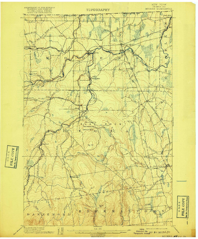 USGS 1:62500-SCALE QUADRANGLE FOR MOOERS, NY 1899