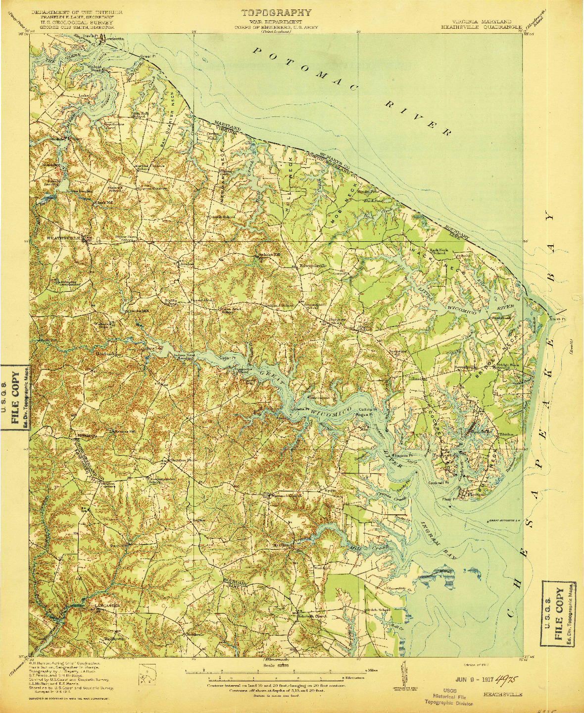 USGS 1:62500-SCALE QUADRANGLE FOR HEATHSVILLE, VA 1917
